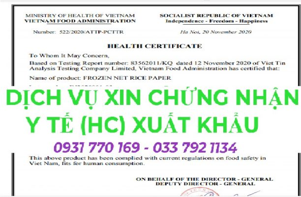 Dịch vụ làm giấy chứng nhận health certificate (HC) trọn gói
