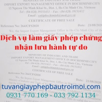 giấy chứng nhận lưu hành tự do (CFS) tại Đồng Nai