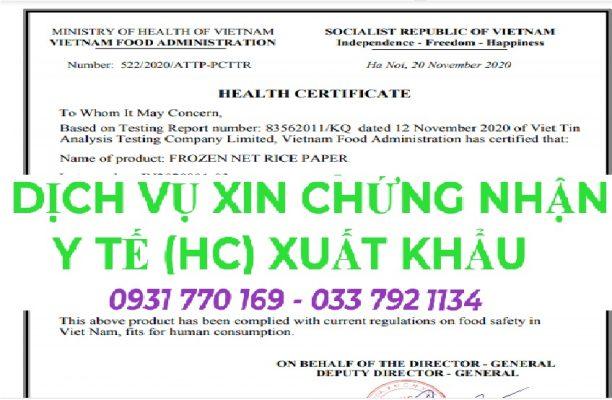 Dịch vụ xin giấy chứng nhận y tế (Health Certificate) xuất khẩu thực phẩm