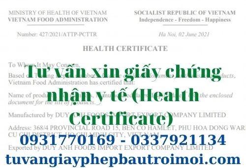 Dịch vụ xin chứng nhận Y Tế (Health Certificate) tại Bến Tre